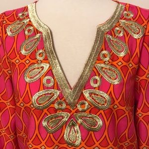 Mud Pie - tunic with gold embroidered neckline